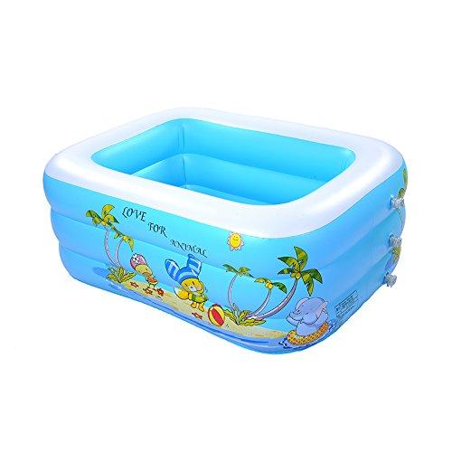 Unbekannt Per Mehrschicht-Aufblasbare Rechteckig Planschbecken für Kinder Tragbare und Sichere Kinder Spielen Schwimmen und Baden Pool (3 Schichten, S)