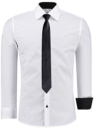 Herren-Hemd – Slim-Fit – Bügelleicht – Anzug, Business, Hochzeit, Freizeit – Langarm für Männer - J'S Fashion - weiß - L