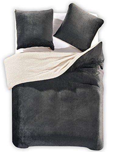 DecoKing 96413 Winter Bettwäsche 200x200 cm Graphit mit 2 Kissenbezügen 80x80 3tlg Lammfelloptik Sherpa Bettwäscheset flauschig Bettbezüge Microfaser mollig weich kuschelig grau anthrazit Teddy