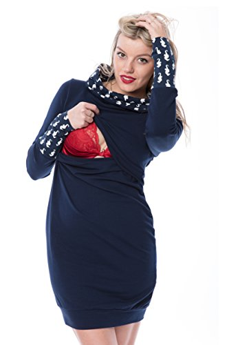 GoFutureWithLove - Robe spécial grossesse - Manches Longues - Femme Marine plus weisse Seepherdchen