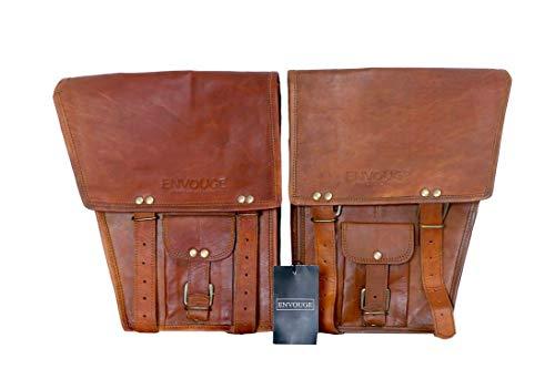 Envuge India Satteltaschen für Motorräder, braune Tasche, große Kapazität, Klassische Satteltaschen für Fahrrad, Roller, Honda Suzuki, Yamaha HD Street Sportster, Seitentaschen (2 Taschen) - Importierte Designer-taschen