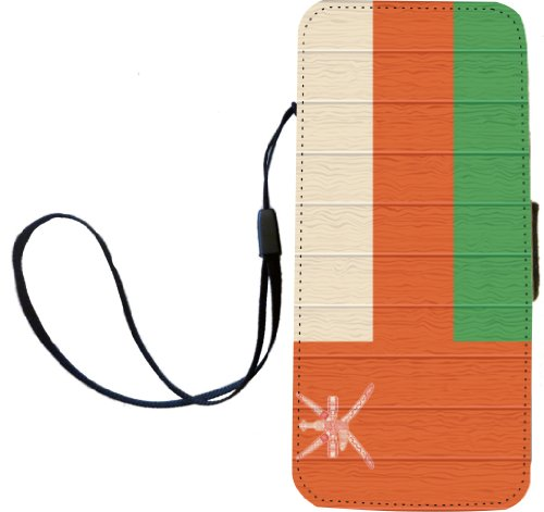 Rikki Knight Oman Flagge auf Distressed Holz Flip Wallet iphonecase mit Magnet Klappe für iPhone 5/5S - Oman Flagge auf Distressed Holz -