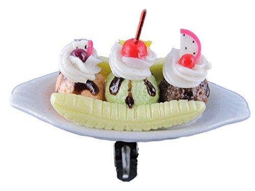 Handgemachter Ring Edelstahl verstellbar Eisbecher Eis Porzellan Schale Eisdiele Sommer Kugel mit Erdbeer Soße und Banane 149 (Star-soße)