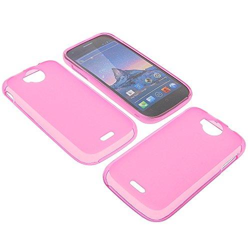 Tasche für Wiko Cink Peax 2 Gummi TPU Schutz Handytasche pink
