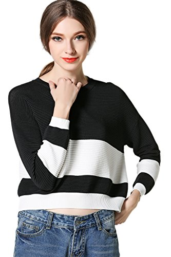 Maglione donna manica lunga Color Block Stripe Casual Crop Black F