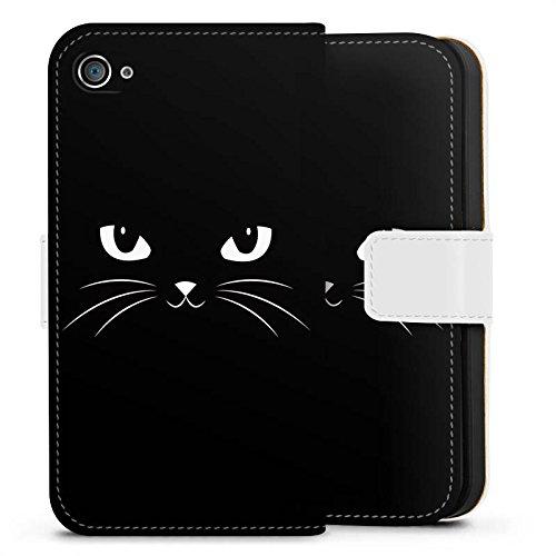 Apple iPhone X Silikon Hülle Case Schutzhülle Black Cat Katze Kater Sideflip Tasche weiß