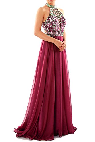 MACloth Women Halter High Neck Sleeveless Long Prom Party Dress Evening Gown Rouge - Bordeaux