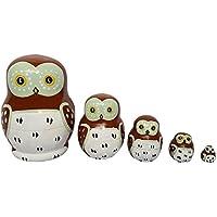 Wildeal Baby Toys Matryoshka - Muñecas de madera de 5 capas, pintadas a mano,