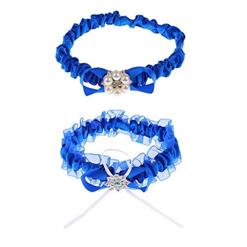Magideal set di 2 pezzi elegante da sposa blu pizzo in raso con strass perline giarrettiera accessori