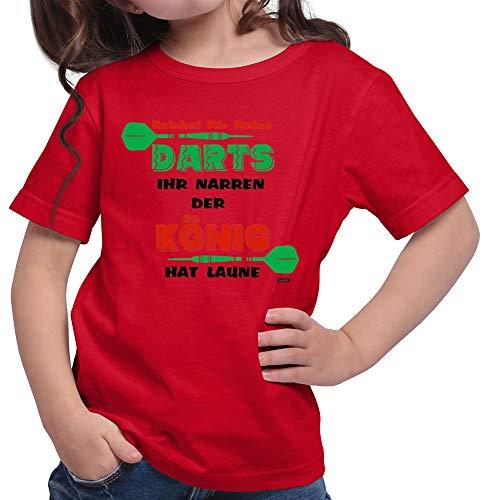 HARIZ  Mädchen T-Shirt Darts Der König Hat Laune Dart Sprüche Dartscheibe Weltmeisterschaft Inkl. Geschenk Karte Rot 140/9-11 Jahre