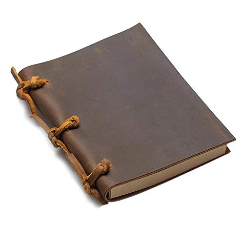 QWSAE notebook Vintage Blank Diaries Journals Notebook Note Book Rope Traveler Thick Genuine Leather Caderno Espiral Weekly Planner