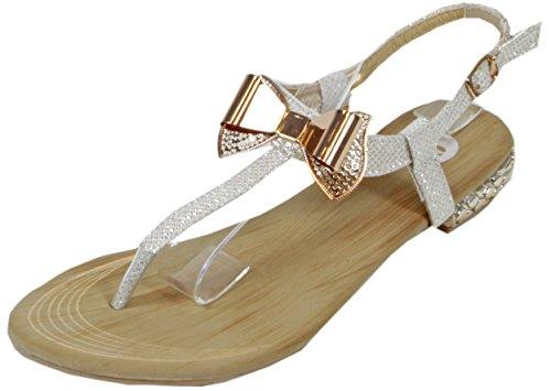Blonna - coole Sandale mit Metallsteinen Pailetten Knöchelriemchen Schaft Zehentrenner LederOptik Damen Sommer Schuhe 36 37 38 39 40 41 Metall-Schleife Pailetten - Weiß