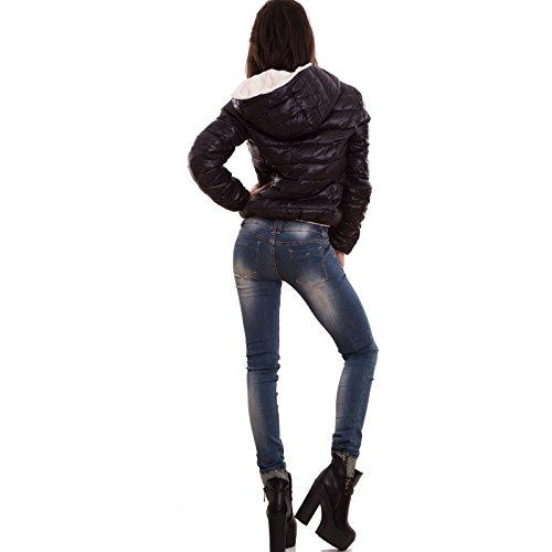 Toocool - Giacca donna eco pelliccia cappuccio giacchetto giubbino double face nuova H-803 Nero