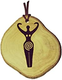 Spiral Goddess Fertility Symbol Handmade Eco Friendly Wooden Necklace Charm