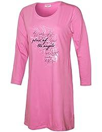 Nachthemd Damen Schlafhemd langarm Damen Sleep Shirt Damen Nachthemd aus 100% Baumwolle softweich Gr. S M L XL