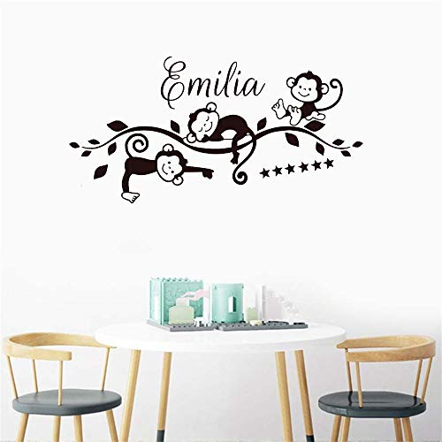 Wandtattoo Schlafzimmer Monkeys On Branch And Personalized Name Wall Decoration Art Poster Beuty Fashion For living room (Wandtattoo Namen Monkey)