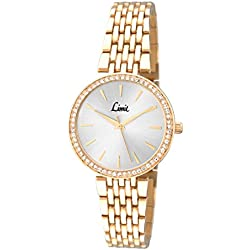 Limit Women's Quartz Watch with Silver Dial Analogue Display and Gold Bracelet 6136.01