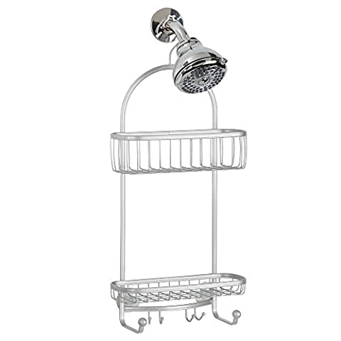 InterDesign York Lyra Shower Caddy for Shampoo/Conditioner/Soap/Razors, Silver