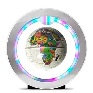 HUYYB Regalo Galleggiante LED, 360 Espositore Girevole Basculante ellittico sospeso in Sospensione per arredo da Ufficio di casa,White