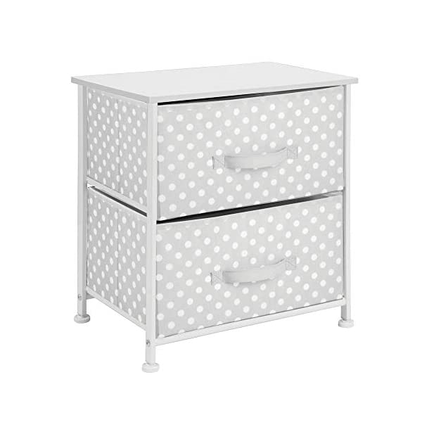 mDesign Chest of Drawers - Children's Bedroom Storage System with 2 Drawers and Flat Top - Nursery Storage Unit with Polka Dot Design - Grey/White mDesign SWEET STORAGE: This 2-drawer side table is a must-have accent to complement any child's room. The grey fabric is adorned with a sweet white polka dot pattern. STORE ANYTHING: The bedroom drawers are a versatile unit and can be filled with anything. Use to store toys, accessories, clothes, books, nappies and more. VERSATILE UNIT: Although the unit works best as bedroom storage, its uses do not stop there. Place in play rooms, nurseries and other child-specific areas of the home. 7