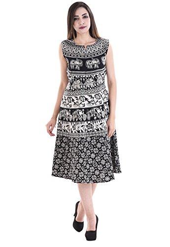 Flavia Creation Pure Cotton Designer Women Midi Dress Free Size ( Assorted Designs )