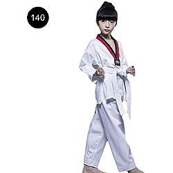 Traje de Artes Marciales Ropa de Taekwondo Traje De Karate Kimono de Artes Marciales Uniforme Kárate con Algodón Cuello en V Kimono Karate para Adulto y Niño Color Blanco
