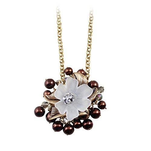 Europa und die durchscheinende Blume Halskette Vintage alten Blätter/ Kupfer Farbe fließen Su Zhu long Halskette-A -
