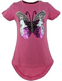 Schmetterling Kinder Mädchen Wende Pailletten Lang T-Shirt Bluse Kurzarm Tunika