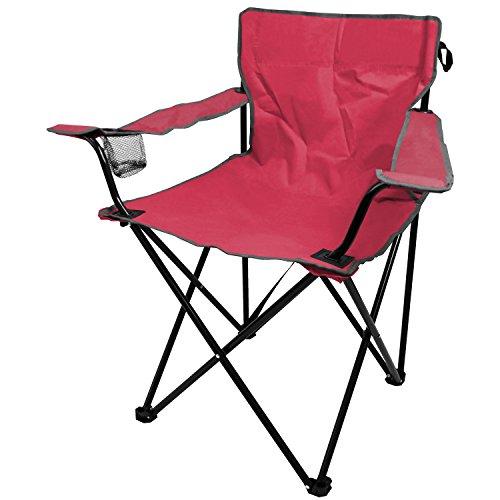 Faltstuhl inkl. Getränkehalter und Tragegurt, in 4 Farben, Klappstuhl Gartenstuhl Balkonstuhl Campingstuhl Strandstuhl, Farbe:Pink