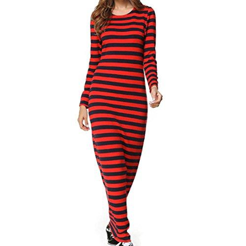Sunnywill Damen MäDchen Kleid Röcke Elegant Retro A-Linie Clubwear Party Langarm gestreiftes beiläufiges bodenlanges Etuikleid (Red, 2XL) (Rock Layered Print)