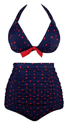 Angerella Retro Polka-Punkt Badeanzug mit hoher Taille Bikini Set(BKI053-N1-M) (Blau Dot Bikini-badeanzug Polka)