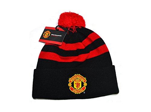 Man Utd gestreift Manschette Gestrickt Bobble Hat, Schwarz, m0603275a (Man Hat Utd)