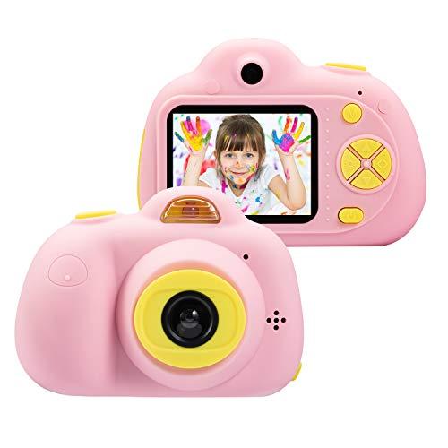 omzer Kinder Kamera Geschenke für 4-8 jährige Mädchen, Stoßfeste Kameras Großes Geschenk für kleines Mädchen mit weicher Silikonhülle für Spiele im Freien, Pink (16 GB Speicherkarte enthalten)