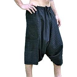 Pantalón Holgado Holgado para Hombre de Estilo Indio Hippie de Pierna Ancha, Cintura elástica con cordón Pantalones de Pierna Ancha