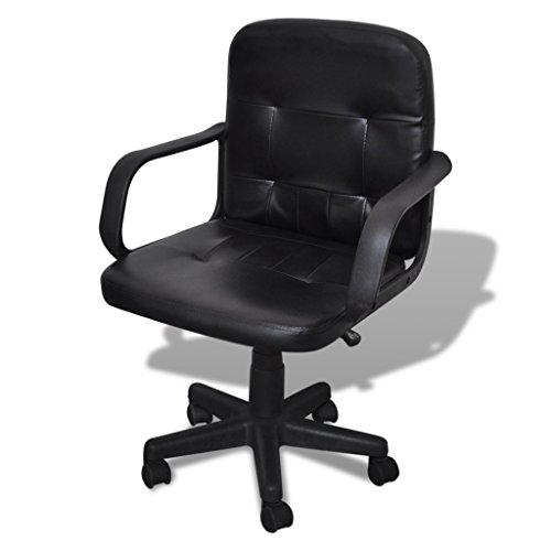 Anself sedia da ufficio girevole poltrona in pelle, nero 59 x 51 cm