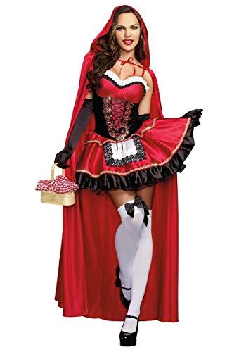 FHSIANN Rotkäppchen Kostüm Deluxe Stickerei Rot Sexy Kleid Cosplay Kleidung Halloweenfür Frauen