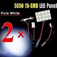 2 x festone bianco t10 BA9S ha condotto 5050 auto pannello 15SMD cupola interno lampada luce mappa ( Colore della luce : Bianco
