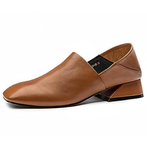Femmes Dames Nouveautés Chaussures à la mode Chaussures Lazy Half Slippers Retro Rough Mid Heel Round Head Anti-dérapant antidérapant Fall Winter Work Party , brown , EUR 39/ UK 6-6.5
