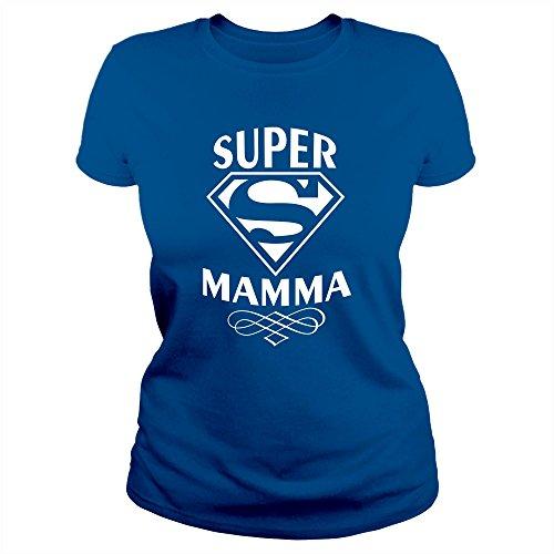 Mam0011 t-shirt maglietta donna super mamma 3 idea regalo festa della mamma (xl, blu royal)