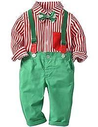 ARAUS Costume Bébé Enfant + Bavoir Papillon en Coton à Rayures Mariage de  Noël en 2 8a527dc99b5