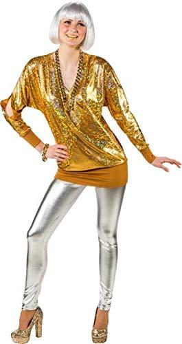 Damen 80er Jahre Metallic Lange Schulter Disco Diva Fun Kostüm Outfit Top Übergröße UK ()