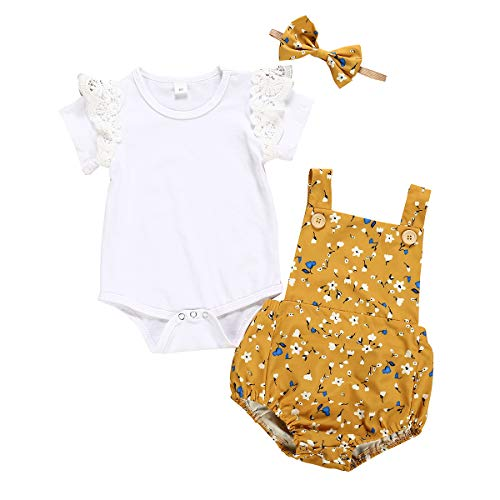 puseky Baby Mädchen Schwestern Kleidung Shirt + Floral Suspender Rock + Stirnband Set für Little Big Sister -