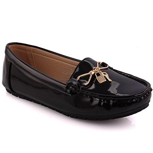 Unze Mesdames Femmes 'Shawn' Métal Brillant Fermoir Verrou Élégant Travail Formel des Brevets de Mocassin sur des Chaussures sans Lacets Plat Pompes UK Size 3-8