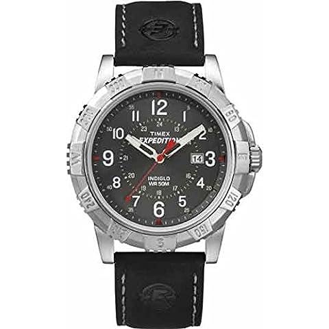 Timex Fly-Back Orologio da Polso al Quarzo, Analogico, Uomo, Pelle, Nero