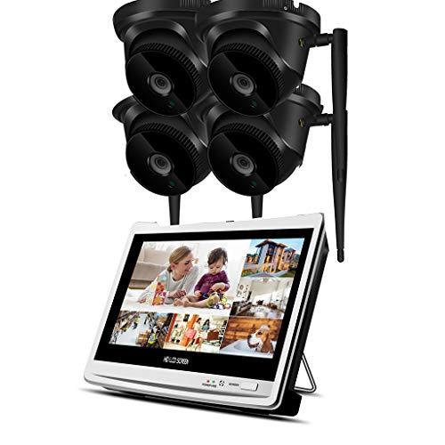 Llcoffga sistema di telecamere di sicurezza wireless con 2 tb hdd monitor da 12 pollici dvr registratore nvr hd 1080p sorveglianza impermeabile visori notturni rilevatori di movimento,4camera