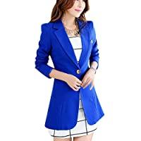 Aisuper Womens Blazer Long Slim One Button Jacket Suit Outerwear