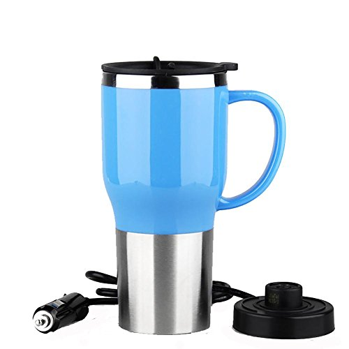Preisvergleich Produktbild huanlebao Tragbarer Beheizter 12/24V KFZ Wasserkocher Edelstahl Tasse Auto Kaffeetasse mit Ladegerät 450ml, Blau, 24V