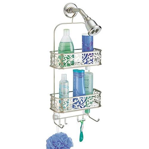 mDesign Dusch Hängeregal - Duschablage ohne Bohren - Duschkorb mit 2 Ebenen und Haken für Rasierer und Waschlappen - satiniert -