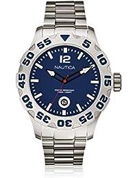Nautica A17569G - Reloj con correa de cuero para hombre, color plateado / gris