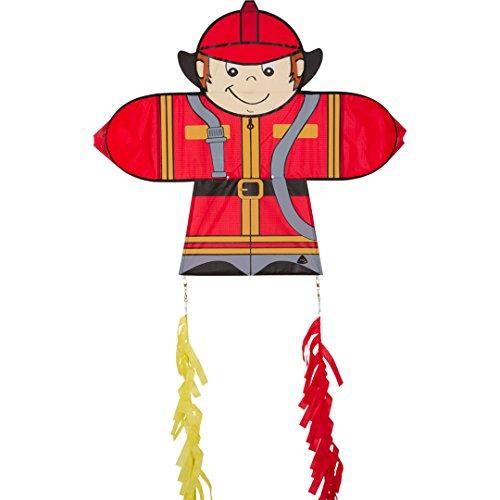 Invento 100402 - Skymates Kite Fireman, Kinderdrachen Einleiner, Ab 5 Jahren, 64 x 71 cm + 2x 100 cm Drachenschwanz Ripstop-Polyester 2-5 Beaufort